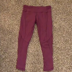 LULULEMON burgundy yoga LEGGINGS size 8